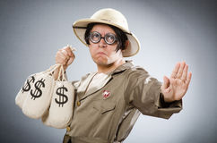 The funny safari traveller in travelling concept Royalty Free Stock Photo