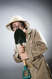 The funny safari traveller in travelling concept Stock Image
