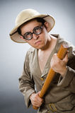 The funny safari traveller in travelling concept Royalty Free Stock Photos