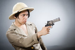 The funny safari traveller in travelling concept Stock Photos