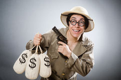 Funny safari traveller in travelling concept Stock Photography