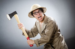 Funny safari traveller in travelling concept Stock Photos