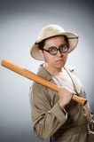 Funny safari traveller in travelling concept Stock Photo