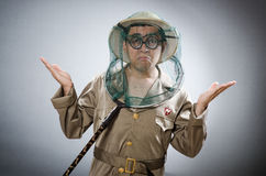 Funny safari traveller in travelling concept Royalty Free Stock Photography