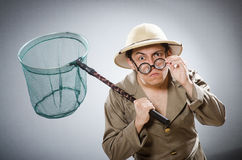 Funny safari traveller in travelling concept Stock Image
