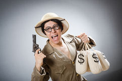 The funny safari traveller in travelling concept Stock Photography