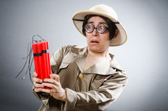 Funny safari traveller in travelling concept Royalty Free Stock Photo