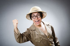 Funny safari traveller in travelling concept Royalty Free Stock Photos