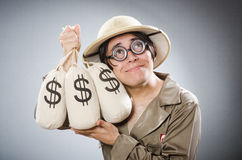 The funny safari traveller in travelling concept Royalty Free Stock Photography