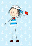 Funny sailor girl Stock Images