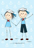 Funny sailor kids Stock Photography