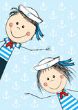 Funny sailor kids Royalty Free Stock Photos