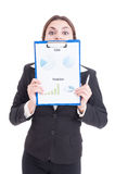 Funny sales woman holding clipboard with financial charts Royalty Free Stock Images
