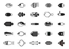 Funny Saltwater Fish Icons Cartoon Vector Illustration Monochrome Stock Images