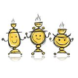 Funny samovars sketch for your design Stock Photography