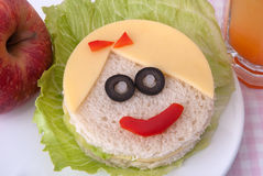 Funny sandwich for a child Royalty Free Stock Photo