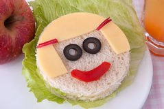 Funny sandwich for a child Stock Photo