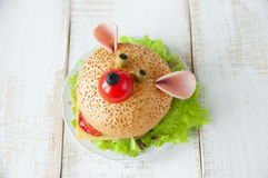 Funny sandwich for child Stock Photo