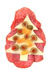 Funny sandwich for chilren (christmas tree) Stock Images