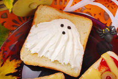 Funny sandwich with ghost for halloween Royalty Free Stock Image