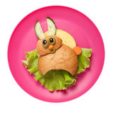 Funny sandwich hare made on pink plate royalty free stock images