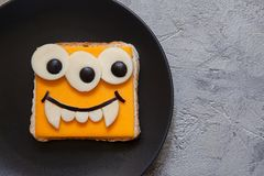 Funny sandwich for kids lunch on a table Royalty Free Stock Photos