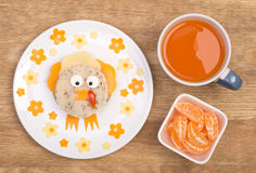 Funny sandwich for kids in a shape of a bird Royalty Free Stock Photos