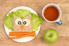 Funny sandwich for kids in a shape of an owl Stock Images