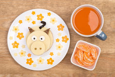 Funny sandwich for kids in a shape of a piggy Stock Images