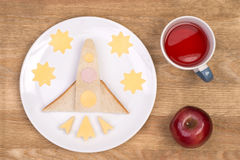 Funny sandwich for kids in shape of a rocket Royalty Free Stock Photo
