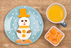 Funny sandwich for kids in a shape of a snowman Stock Image
