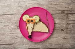 Funny sandwich mouse. On plate and desk Stock Photo