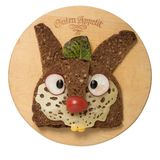 Funny sandwich rabbit made on cutting board royalty free stock photography
