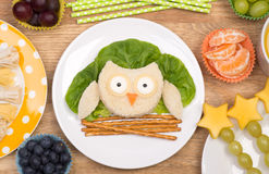 Funny sandwich in a shape of an owl Stock Images