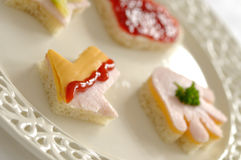 Funny sandwiches. Exclusive sandwiches in the shape of heart, arrow, hand and star Royalty Free Stock Image
