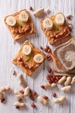 Funny sandwiches for children with peanut butter top view Royalty Free Stock Image