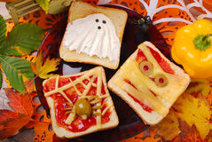 Funny sandwiches for halloween Royalty Free Stock Photo