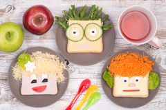 Funny sandwiches for kids Stock Photography
