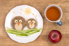 Funny sandwiches for kids in a shape of birds Royalty Free Stock Photography