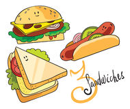 3 funny sandwiches. Set of 3 kinds of funny food Royalty Free Stock Photography