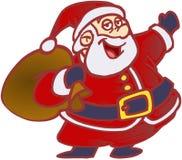 Funny Santa. Santa Claus in blue gloves bringing brown bag Royalty Free Stock Photos
