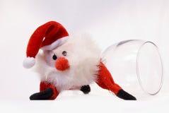 Funny santa. Santa funny with wine, christmas stock photo