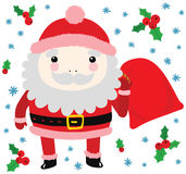Funny Santa with Bag of Gifts Stock Image