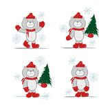 Funny santa bear with christmas tree for your Stock Images