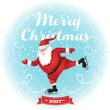 Funny santa. Christmas greeting card background poster. Stock Images