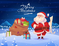 Funny santa. Christmas greeting card background Stock Photo