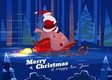 Funny santa. Christmas greeting card background Stock Photo