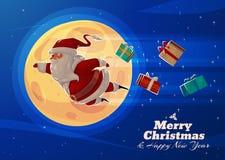 Funny santa. Christmas greeting card background Royalty Free Stock Image