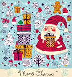 Funny Santa Claus. Christmas illustration with funny Santa Claus and gift boxes Stock Photography