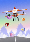 Funny Santa Claus on airplane Royalty Free Stock Images